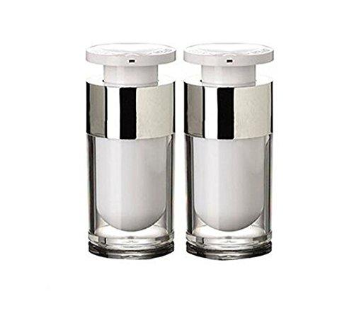2 pcs 15ml vide en acrylique Blanc rechargeable haute qualité Airless Pompe à vide Distributeur de bouteille de lotion Crème Fond de teint