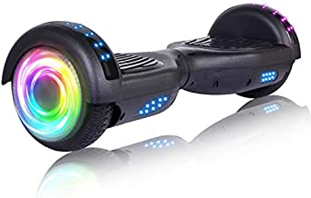 """SISIGAD Hoverboard 6.5"""" Self Balancing Scooter with Colorful LED Wheels Lights Two-Wheels self Balancing Hoverboard Dual 300W Motors Hover Board UL2272 Certified - Black"""