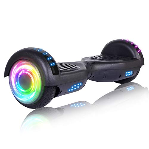 "SISIGAD Hoverboard 6.5"" Self Balancing Scooter with Colorful LED Wheels Lights Two-Wheels self Balancing Hoverboard Dual 300W Motors Hover Board UL2272 Certified - Black"