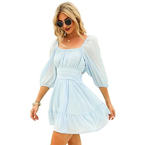 Exlura Womens Lantern Sleeve Tie Back Dress Ruffled Off The Shoulder A-Line Vintage Mini Dresses Blue