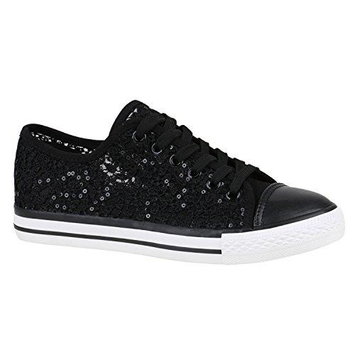 stiefelparadies Damen Schuhe Sneakers Low Canvas Turnschuhe Freizeit 155851 Schwarz Pailletten 37 Flandell
