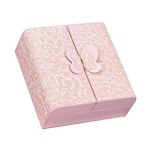 WXIANG Caja de joyería creativa para anillos, pulseras, organizador portátil de joyería, pequeño viaje (color: rosa)