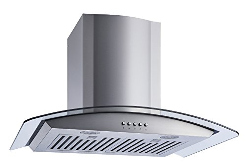 Winflo 30 In. Convertible Stainless Steel/Glass Wall Mount Range Hood with Stainless Steel Baffle Filters, Charcoal Filters and Push Button Control