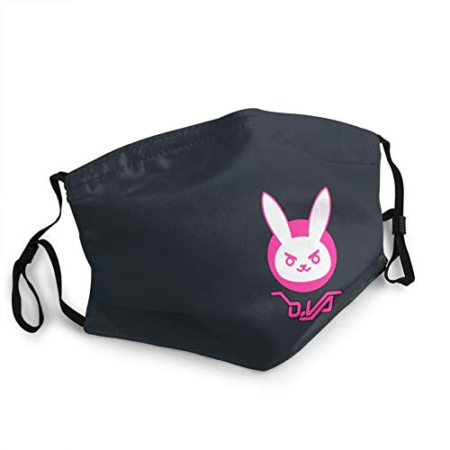 Overwatch Dva Bunny Logo Adjustable Mens Womens Face Mask Breathable Filter Mask Reusable Cloth Washable Black