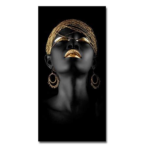 Nativeemie Cuadro en Lienzo de Mujer Negra, Carteles artísticos de Pared, Maquillaje, Arte Dorado y Negro, Imagen escandinava para decoración de Sala de Estar, 30x60cm / 11.8
