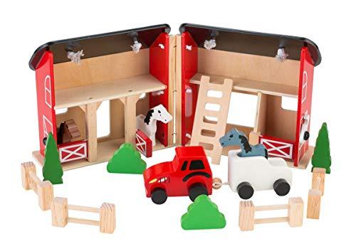Coemo Pferdestall Bauernhof aus Holz tragbar im Koffer 3 Pferde Zubehör Reiterhof