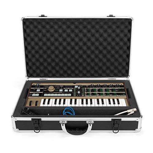 Analog Cases UNISON Case für Korg MicroKorg oder vergleichbare Midi Controller/Synthesizer/Vocoder (Transportkoffer, Eckschutz aus Aluminium, gepolsterter Deckel mit Tragegriff), Schwarz