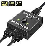 HDMI Switch,GANA Switch HDMI Bidirezionale 2 ingresso 1 uscita o 1 in to 2 out Supporta 4K...