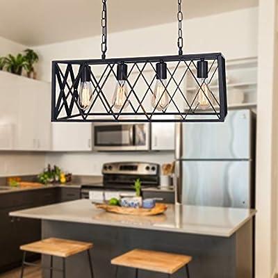 Farmhouse Chandelier Kitchen Island Lighting fixtures Industrial Rustic Pendant Light Dinning Room Loft Bar Lighting - 4 Lights
