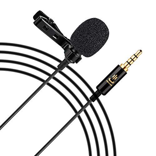 Docooler Profissional Omni-Direcional Clip-On Microfone De Lapela Mic Comprimento Do Cabo 6M Com 3.5Mm Jack Adaptador Windscreen Para Iphone Huawei Smartphone Tablete Para Canon Sony Nikon Câmeras