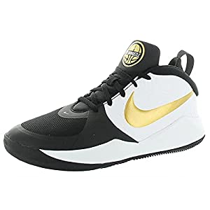 Nike Unisex-Kid's Team Hustle D 9 Grade School Basketball Shoe, Black/Metallic Gold-White, 6.5Y Youth US Big Kid
