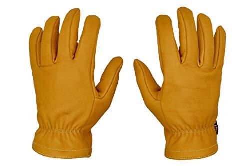 THROTTLESNAKE Guantes de Cuero Vintage para Moto con Kevlar Amarillo Mostaza GLOVE TROTTER † Mustard Yellow Old School Motorcycle Leather & Kevlar Gloves (L)