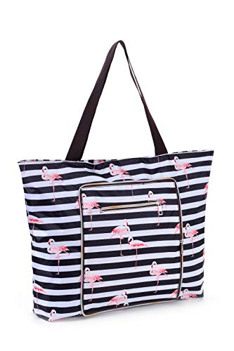 Women Beach Tote Utility Bag with Zipper, Black Stripe Foldable Cute Large Swim pool Waterproof Bag for Travel, Gym, yoga, Mom in Law Female Friend Sister Wife Girlfriend Good Gift
