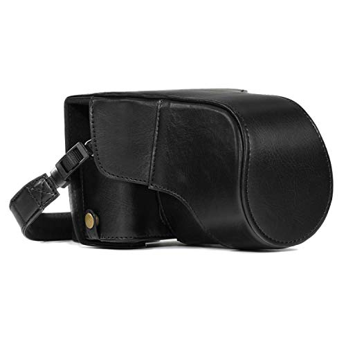 MegaGear MG981 Ever Ready Leder Kamera-Case mit Trageriemen kompatibel mit Fujifilm X-T30, X-T20, X-T10 (16-50mm / 18-55mm Lenses) - Schwarz