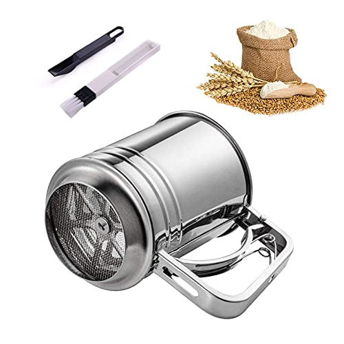 YADIMI Mehl und Puderzuckersieb Edelstahl Mehlsieb, Großes Handsieb aus Edelstahl für Cappuccino Schokopulver Zucker Zimt Mehl Salz Gewürz(Silber)