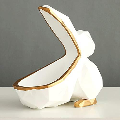 WZHZJ Caja de Almacenamiento de Resina Multifuncional Lindo Animal Sala de Estar Decoración Candy Nut Caja de Almacenamiento Regalo (Color : White)