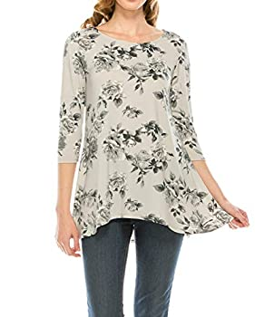 DA GRACE Womens high-Low Tunic Tops Plus Size 3/4 Sleeve Scoop Neck Flare Swing Loose fit Made in USA