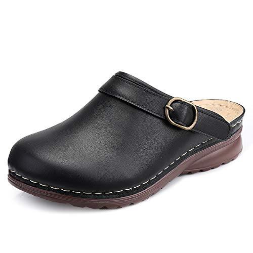 gracosy Sabots Femme, Sandales en Cuir PU avec Boucle à Enfiler Mules Clogs Chaussons d'Extérieur Pantoufle Claquette Plage Chaussures de Jardinqge Plate Été Noir 41 EU