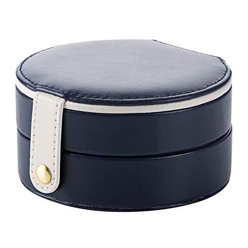 Mr.T Dekorative Lagerung Box- Schmuck Storage Box, Ring-Ohrringe, Halskette, Kleine Reise Schmuck Storage Box und Mädchen-Spiegel - Haushalt Aufbewahrungsbox (Color : Blue)