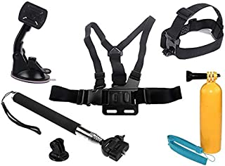 6 in 1 Combo Set Chest Harness Mount, Head Belt Strap, Monopod, Car Suction Mount, Adapter and Floaty Bobber for GoPro Her...