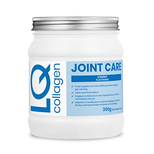 LQ Collagen Joint Care Powder - Premium Marine Collagen (5000mg), Glucosamine (500mg), Hyaluronic Acid, Magnesium, Ginger & Copper (Cherry Flavoured 300g)