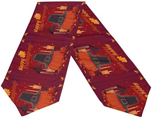 DUTRIX Camino de Mesa de poliéster de otoño de Calabaza de acción de Gracias Feliz Vintage de Doble Cara 13 x 70 Pulgadas de Largo Rojo decoración de mesa-rojo-13 x 70 Pulgadas