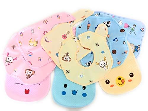 4 piezas de baberos bebe impermeables con dibujos para niños y niñas · baberos bebe recien nacido · baberos impermeables bebe denticion bebe · regalo recien nacido · bebe/baby 0-24 meses (Azul)