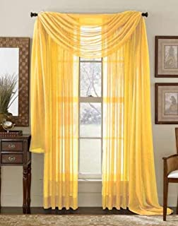 Avanti Home Elegance Solid Colors 1 PC Scarf Valance Soft Sheer Voile Window Topper Swag Panel Curtain 37