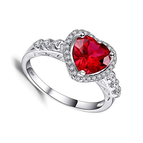 litulituhallo Love Promise Ring White Gold Silver Red for Her Anniversary