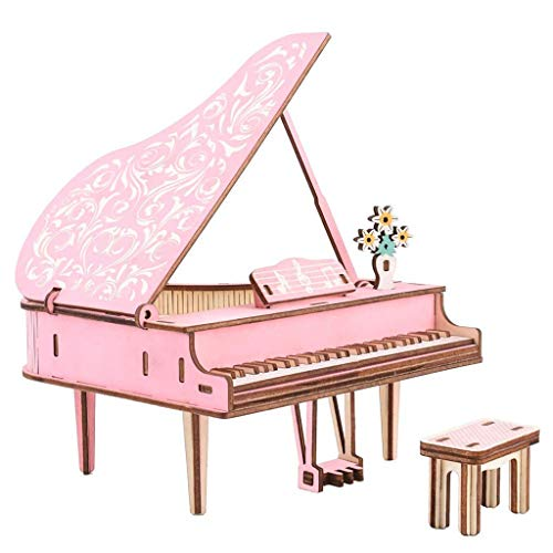 SJYDQ MKJHEDLSC Handmade Puzzle,Pink Wooden Puzzle DIY Piano Model 3D Jigsaw Craft Game for Kids and Adults