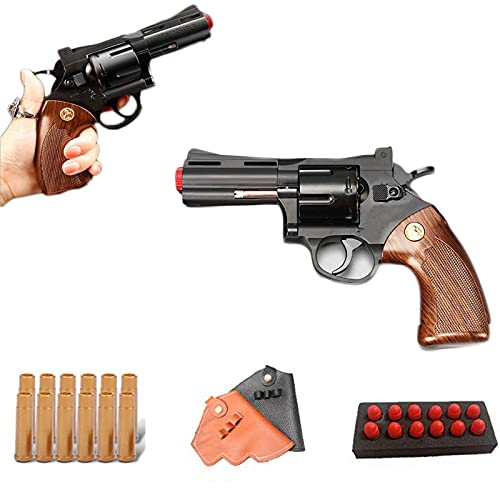 Classic Revolver Soft Bullet Toy Gun - zp5 shell throwing soft bullet toy pistol with Holster, 1: 1 Size Boys Simulation Toy Guns, boy versus toy gun Can fire EVA sponge bullets (357 short)