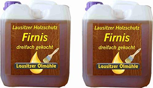 Hoyo Technology GmbH 10 Liter Leinöl Firnis (2 x 5 Liter) Lausitzer Leinölfirnis für Holzschutz dreifach gekocht und harzfrei