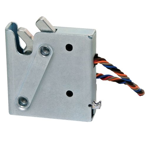 Southco R4-EM Series Zinc Plated Steel Electronic Rotary Latch with Microswitch and Striker Bolt, Auto Re-Lock, 12-24V DC