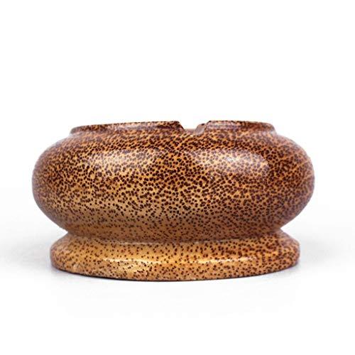 JSY Cenicero circular de madera maciza de coco chino creativo cenicero de madera para sala de estar