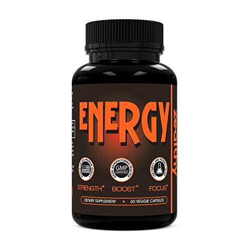 Zealthy Energy - Caffeine Supplement Pills for Boost Focus, Sustain Energy & Remove Brain Fog. Best Energy Booster Pill Supplements with Nootropic, Panax & Guarana Extract for Men & Women (60 Ct)
