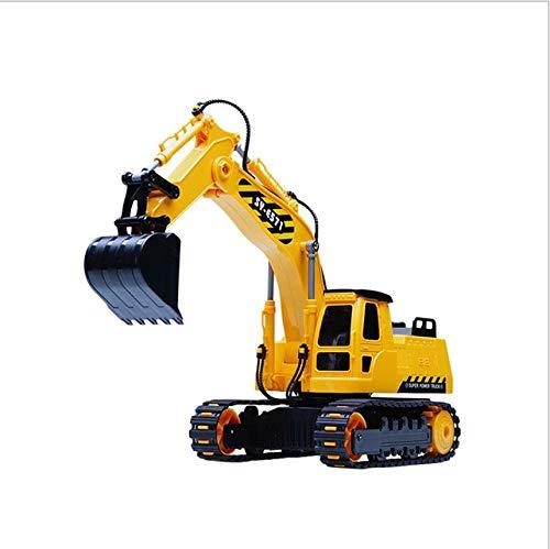 Zeyujie Vehículos de construcción de excavadora de control remoto, juguetes de excavadora, vehículos de juguete hidráulico de control remoto adecuados para 4, 5, 6, 7, 8 años de edad, niños, vehículos