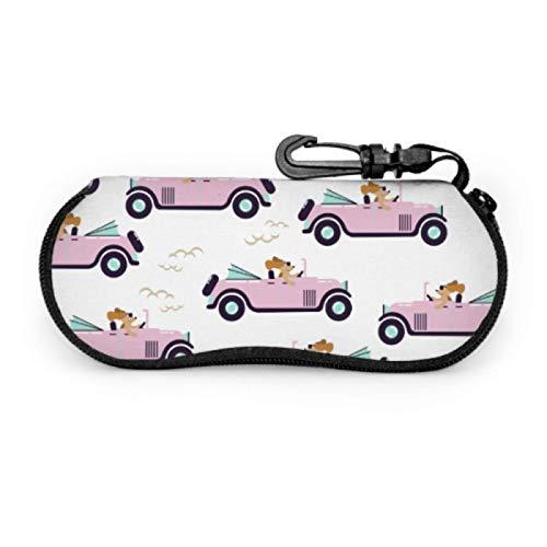 Gses Case - Funda para gafas de sol (neopreno, con mosquetón), diseño retro, color rosa