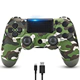 YHT PS4 Controller, Wireless Pro Dual Shock PS4 Game Controllers Remote Control Gamepad with Touch Panel Audio Function and USB Cable Compatible with PS4/PS4 Pro/PS4 Slim (Green Camouflage)