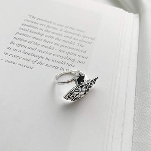 PRAK Bague Femme Ouverte en Argent 925 Sterling,Simple Fashion Creative Little Star Angel Wings Lady Forme Cadeau d'anniversaire Cadeau De Noël Accessoires De Tiers