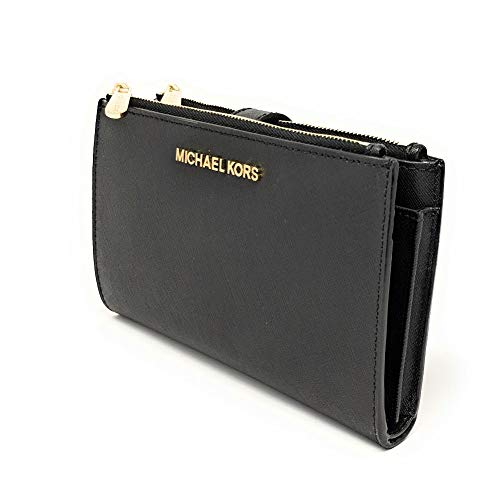 "Size Approx. 7.25"" W x 4.5"" H x 1"" D, w/ 7"" removable wristlet strap Saffiano Leather, Double top zip closure & secure button closure to hold closed the wallet Gold tone hardware, Michael Kors lettering logo front center Inside: 1 Large billfold, 1 P..."