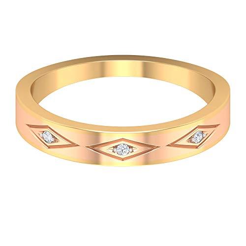 Rosec Jewels - Alianza de boda antigua, anillo grabado, anillo de diamante redondo HI-SI, anillo de aniversario, anillo de novia, anillo de madre, anillo diario, oro de 10 quilates. blanco