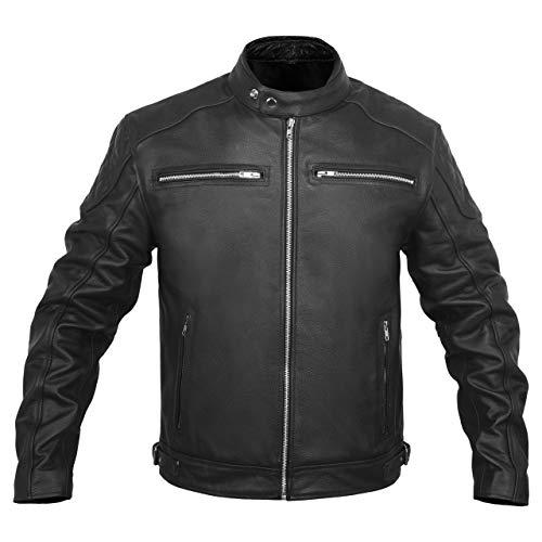Leather Motorcycle Jacket for Men Riding Cafe Racer Biker Riding Jackets Ce Armor Black Men's (Black, X-Large, x_l)