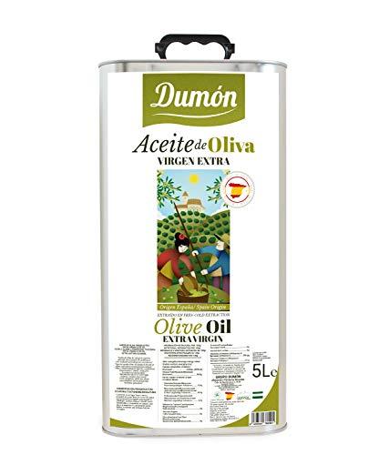DUMON - Huile d'Olive Extra Vierge 5 LITRES, Premium Edition, Huile de Olive Extra Vierge Innovante en Bidon Résistant avec Soupape de Versage Facile et Soupape d'Air Spéciale.