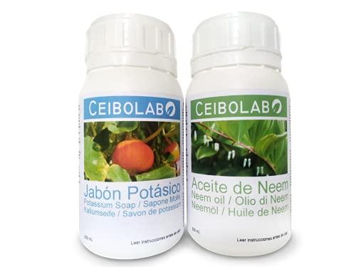 Ceibolab, Jabón Potásico y Aceite de Neem para Plantas (2X250 ML). Insecticida orgánico, Biodegradable y ecológico.