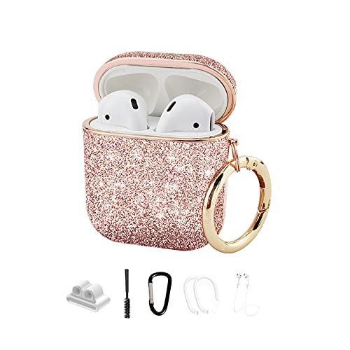 MOLOVA Bling Case for Airpods 1&2 Case,Hard Cover Glitter Rose Gold Luxury Leather with Gold-Plated Frame Shock Proof Cover with Keychain/Lanyard/Holder/Ear Hooks/Brush for Women Girls