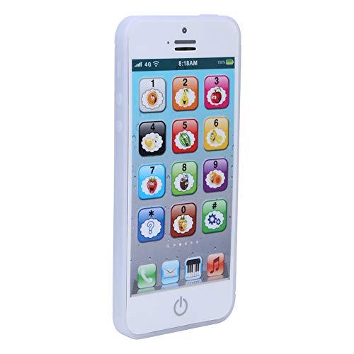 Juguete del teléfono de los niños, luz de la música del aprendizaje del inglés del teléfono celular educativo del bebé de la pantalla táctil para los niños del bebé de los niños(blanco, negro)