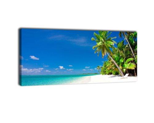 wandmotiv24 Leinwandbild Panorama Nr. 85 Südsee 100x40cm, Keilrahmenbild, Bild auf Leinwand, Strand Urlaub Meer