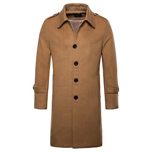 AOWOFS Men's Mid Long Wool Blend Pea Coat Single Breasted Overcoat Winter Trench Coat Camel