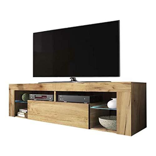 Tresice france Meuble TV MALOA 140 CM Couleur chêne LED Bleu