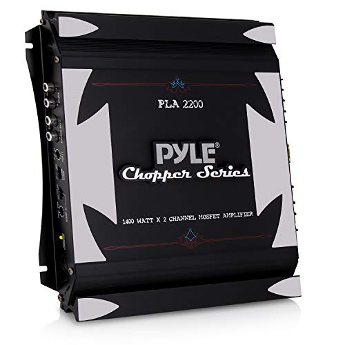 2 Channel Car Stereo Amplifier - 1400W Dual Channel Bridgeable High Power MOSFET Audio Sound Auto Small Speaker Amp w/ Crossover, Bass Boost Control, Gold Plated RCA Input Output - Pyle PLA2200, Black